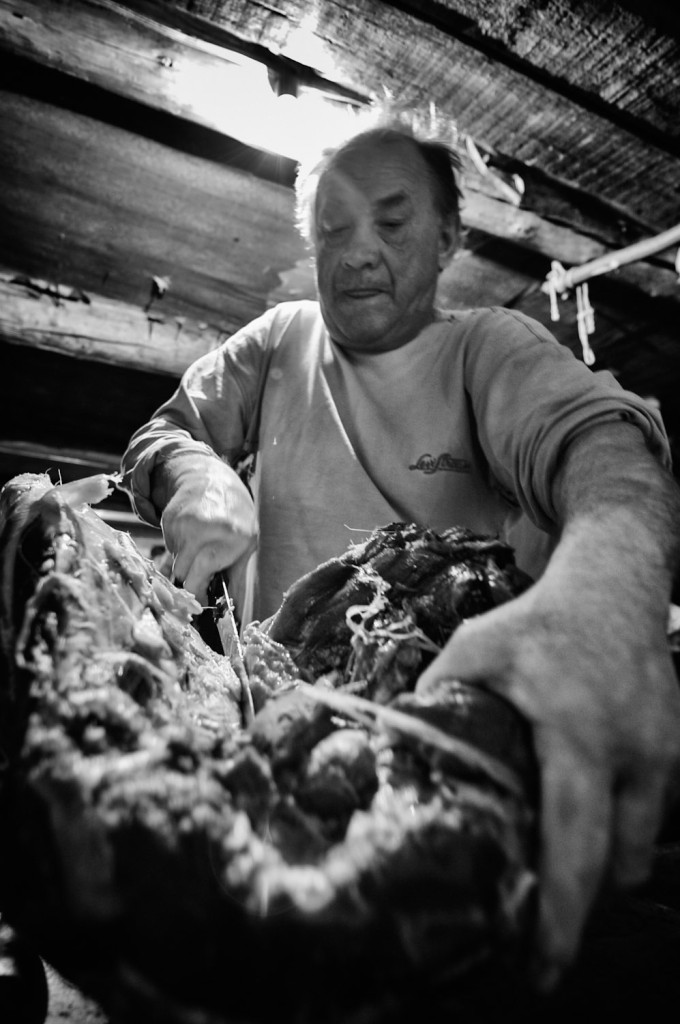 Sania preparing Elk meat